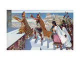 Worshippers Climb the Steps of the Temple of Pachacamac Giclee Print by H.M. Herget