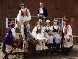 Folk Singers in Polish Costumes Gather on Cart at a Harvest Festival Photographic Print by Volkmar K. Wentzel