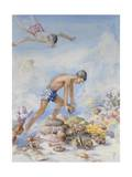 Polynesian Swimmers Dive to Pluck Pearl Shells from the Sea Floor Giclee Print by Else Bostelmann