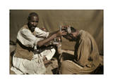 Afridi Barber Shaves a Fellow Tribesmen&#39;s Hair Photographic Print by Franklin Price Knott