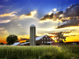 Silo, Barn, and Cornfield of an American Farm Backlit at Sunset Photographic Print by  White & Petteway