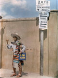 Man in Mexican Style Clothing and a Guitar Hitchhikes in Laredo Photographic Print by Luis Marden