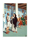 Hippocrates Advises a Woman and Child, Other Patients Wait Nearby Giclee Print by H.M. Herget
