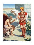 Alexander the Great Talks to the Philosopher Diogenes, the Cynic Giclee Print by H.M. Herget
