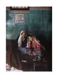 Women and Girl Sit Below Tile That References God in Arabic Lámina fotográfica por Gervais Courtellemont