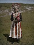 Norwegian Woman in Traditional Wedding Attire Photographic Print by Gustav Heurlin