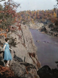 Woman Stands on a Rock Overlooking the Potomac River Photographic Print by Clifton R. Adams