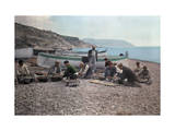 On the Beach of Bordighera, Fishermen Gather Supplies for Work Photographic Print by Hans Hildenbrand