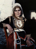 Woman Poses in the National Costume of Crete Photographic Print by Maynard Owen Williams