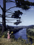 Young Girl Picks Goldenrod Growing on Bluff Above Connecticut River Photographic Print by B. Anthony Stewart