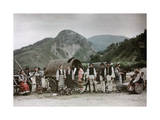 Picnickers Traveling in the Mountains Stop with their Wagons to Rest Photographic Print by Wilhelm Tobien