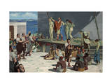 Men Bid on Women at a Slave Market in Delos Giclee Print by H.M. Herget