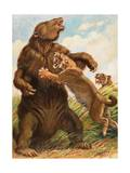 Slow Megatherium Was No Match for the Saber Tooth Tiger Photographic Print by Charles Knight