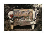 Two Men Hold a Painting That Symbolizes Makeda's Visit to Solomon Photographic Print by W. Robert Moore