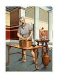 Archimedes Uses the Law of Specific Gravity to Measure a Golden Crown Giclee Print by H.M. Herget
