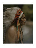 Portrait of a Taos Indian Chief with War Bonnet Photographic Print by Franklin Price Knott