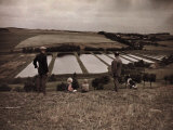 Visitors Look Down on Fish Hatcheries across Landscape Along Railway Photographic Print by Gustav Heurlin