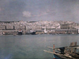 View of the Terraced White City, Algiers from the Busy Waterfront, Photographic Print