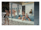 Men Relax and Bathe in Tepidarium, a Pool Receiving Warm, Fresh Water Giclee Print by H.M. Herget