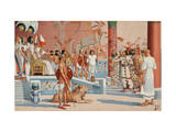 Seated on a Throne, Ramesses II Receives an Envoy from a Hittite King Giclee Print by H.M. Herget