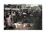 Crowd of People in the Poultry Market at Mukacevo Photographic Print by Hans Hildenbrand