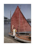 Yachting Enthusiast Poses in Front of Her Catboat Photographic Print by Clifton R. Adams