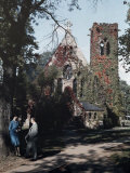 Two People Stand Outside the Chapel at the University of Virginia Photographic Print by Edwin L. Wisherd