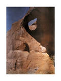 Two Men on Horseback are Dwarfed by the Enormous Red Canyon Walls Photographic Print by Edwin L. Wisherd