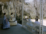 Women Stand on Antebellum Mansion's Porch Framed by Belgian Ironwork Photographic Print by Willard Culver