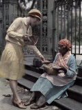 Woman Sitting on Stone Steps in the French Quarter, Sells Pralines Photographic Print by Edwin L. Wisherd