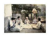 """Local Women Sit on Cobbles """"Tailor Fashion"""" Embroidering Linen Photographic Print by Wilhelm Tobien"""
