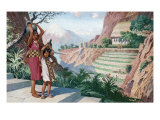Daughters of an Inca Official Return Home with Water from a Spring Giclee Print by H.M. Herget
