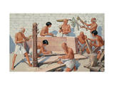 Men Build Large Rectangular Coffin in Middle Kingdom Carpentry Shop Giclee Print by H.M. Herget