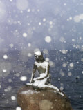 Snow Storm on the Little Mermaid Statue Photographic Print by Keenpress