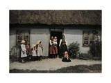 Family in Rural Poland Stands Outside Humble, Thatched-Roof House Photographic Print by Hans Hildenbrand