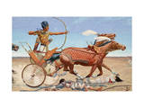 King Thut-Mose Iii Drives His Chariot into Battle Near Har Megiddo Giclee Print by H.M. Herget