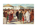 Men Vote to Ostracize a Fellow Citizen in the Athenian Agora Giclee Print by H.M. Herget