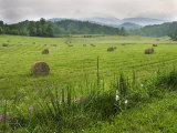 Bales of Hay Rest in a Field Below Cloud-Covered Mountains after Rain Photographic Print by White & Petteway