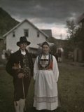 Fiddler Poses with a Woman at a Country Wedding in Voss Photographic Print by Gustav Heurlin