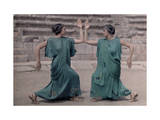 Two Actresses at Delphi Festival Adorn Costumes of Classical Greece Photographic Print by Maynard Owen Williams
