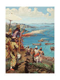 Xerxes Watches the Battle of Salamis from Mount Aegaleos Giclee Print by H.M. Herget