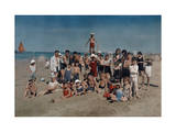 Large Group of Children Celebrate a Holiday on the Adriatic Photographic Print by Hans Hildenbrand