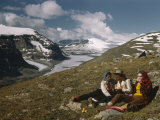 Climbers Eat a Picnic Near Columbia Icefield and Mount Saskatchewan Photographic Print by Walter Meayers Edwards