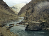 Caravan Crosses Footbridge over the Dras, a Tributary of the Indus Photographic Print by Volkmar K. Wentzel