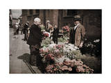 Open-Air Flower Stalls are Set Up Outside Aarhus's Cathedral Walls Photographic Print by Gustav Heurlin