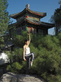 Chinese Woman in Her 20s to 30s Doing Yoga at the Forbidden City Photographic Print by  xPacifica