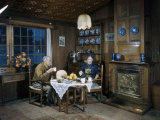 Retired English Couple Take Tea in Parlor of their Houseboat Photographic Print by Volkmar K. Wentzel