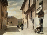 Woman and Donkey Stand in an Empty Street in Segovia Photographic Print by Gervais Courtellemont