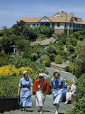 Students and Nurses Climb Steps on Campus of a Teaching Hospital Photographic Print by Howell Walker