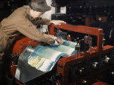 Worker Keeps Ink Flowing Smoothly with a Spatula Photographic Print by B. Anthony Stewart